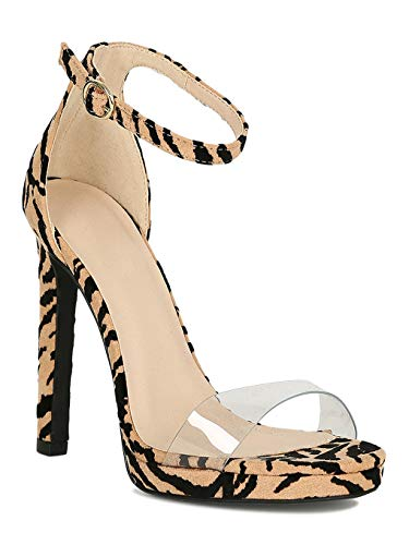 Women Animal Print Clear Open Toe Ankle Strap Stiletto Platform Heel Sandal RJ52 - Tan/Black Tiger Faux Suede (Size: 10) (Print Qupid Animal)