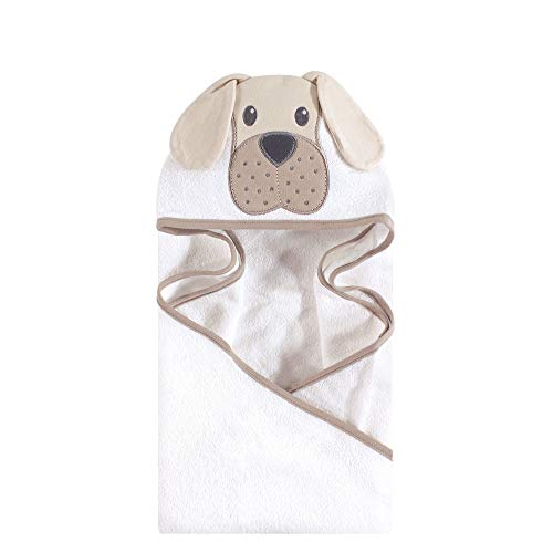 Hudson Baby Unisex Baby Animal Face Hooded Towel, Tan Puppy 1-Pack, One Size (Puppy Towel Hooded Bath)