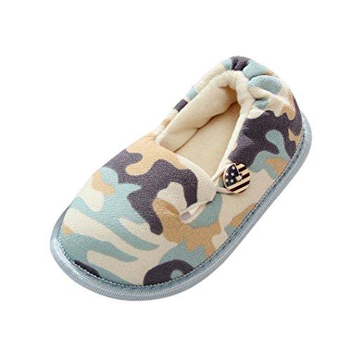 Sunnyoyo Nette 0-5 Jahre alt Kleinkind-Kind-Baby-Jungen-weicher Tarnungs-Entwurfs-Warming Shoes-Haus-Pantoffel Grün