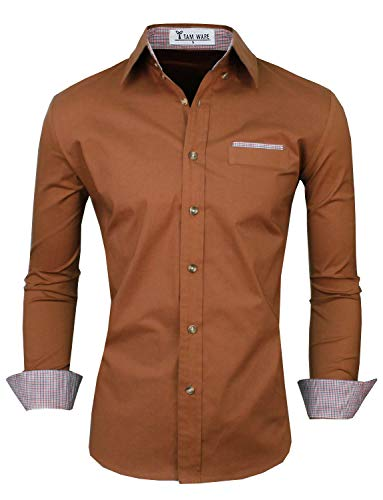 TAM WARE Mens Premium Casual Inner Contrast Dress Shirt TWNMS310-315N-BROWN-US XXL
