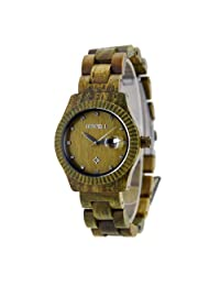 Handmade Round Wooden Watch Made with Natural Wood in Green for Women - HGW-200