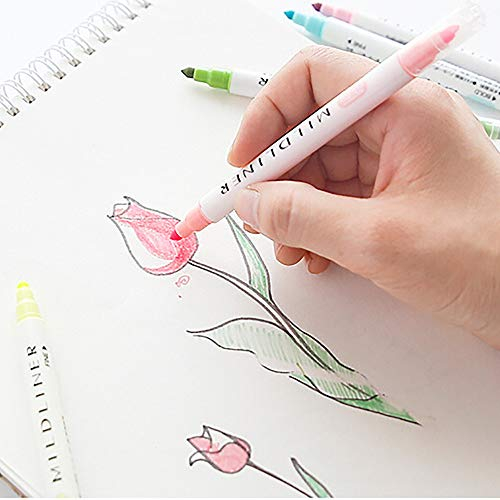 Highlighter Pens Double-Headed Multifunctional Pen 12 Colors Included Round and Oblique Head Marker Pens Fine Brush Marker Pen Graphic Drawing (Multicolor) by Ounice (Image #2)