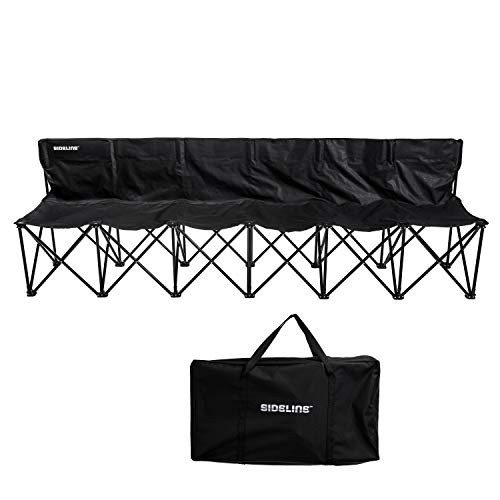 Franklin Sports Sideline Team Bench - 6 Person - Collapsible Sports Bench with Carry Bag - Easy Assembly - Pop Up - Additional Steel Support Poles Provide Extra ()