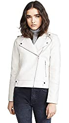 Cupcakes And Cashmere Women S Vivica Washed Vegan Leather Moto Jacket Bone Medium