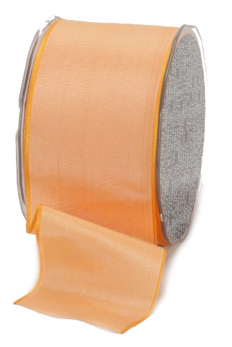 Ampelco Ribbon Company French Wired 27-Yard Taffeta Ribbon, 2.5-Inch, Peach