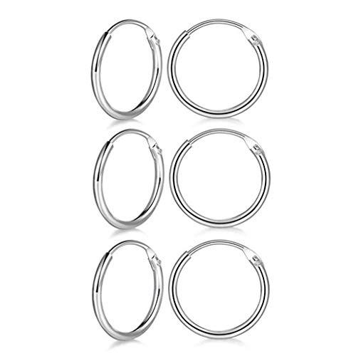 12 Mm Round Earrings - 3 Pairs Sterling Silver Small Hoop Earrings Hypoallergenic Endless Hoop Earrings Set Cartilage Huggie Nose Lip Rings for Women Men Girls, 8mm 10mm 12mm, Upgrade Easy to Clasp