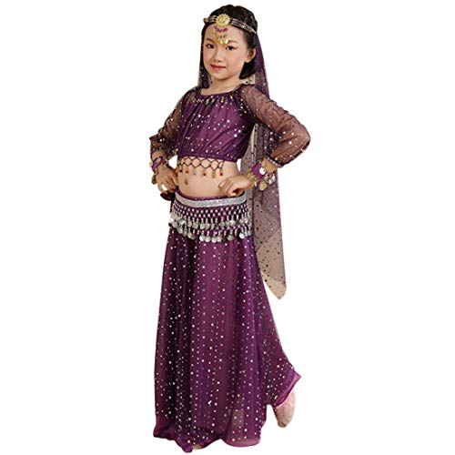 Jiyaru Child Belly Dance Outfits Girls Dancing Costumes Sequined Top Skirt with Veil Purple Asian S