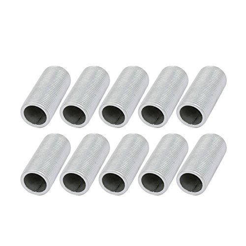 (uxcell 10Pcs M14 Full Threaded Lamp Nipple Straight Pass-Through Pipe Connector 30mm Length)