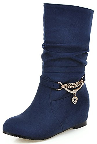 Mofri Women's Adorable Faux Suede Rhinestone Round Toe Low Hidden Wedge Heel Pull on Slouchy Mid Calf Boots (Navy Blue, 11 B(M) (Blue Suede Shoes Bar)