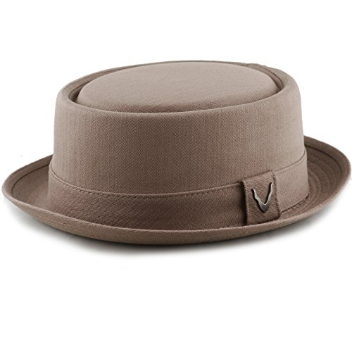 THE HAT DEPOT Black Horn Unisex Cotton Herringbone Pork Pie Hat (Medium, Brown)