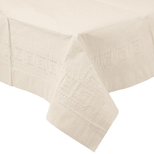710207B 54'' x 108'' Ivory Tissue / Poly Table Cover - 24/Case By TableTop King by TableTop King