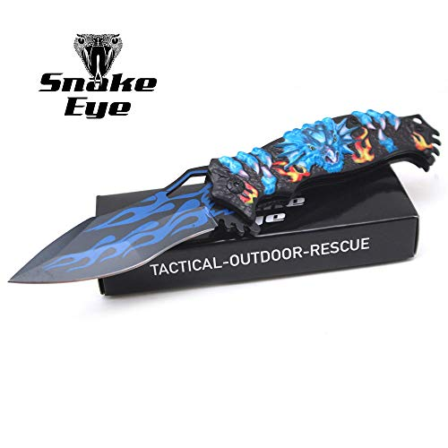 - Snake Eye Tactical Fantasy Flaming Dragon Design Folding Knife | Outdoor Survival Pocket Knife | Small one-Hand Knife Made of Stainless Steel Blade| Ideal for Recreational Work Hiking Camping (Blue)