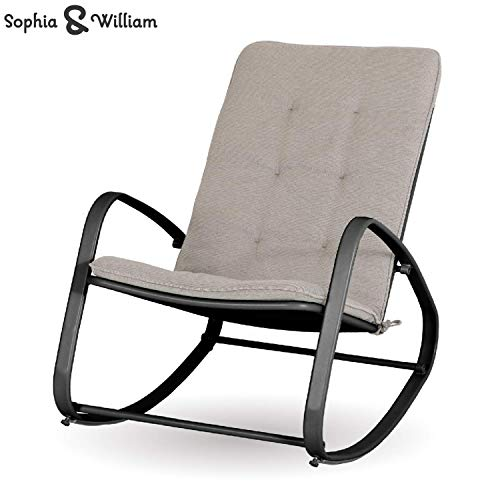 Sophia and William Outdoor Patio Rocking Chair Padded Steel Rocker Chair Support 300lbs, Black (Renewed)