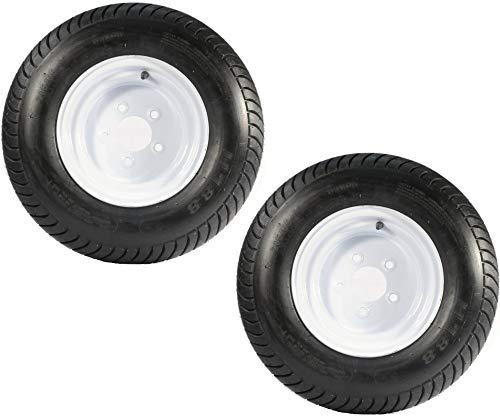 (Roadstar Set of 2 Trailer Tires & Rims 20.5x8.0-10 20.5/8-10 205/65-10 White Wheels Tire Mounted (5x4.5) Bolt Circle)