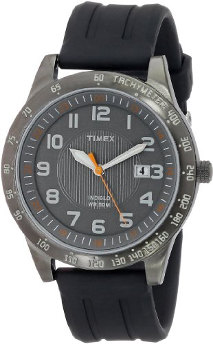 Timex Men's T2N919 Elevated Classics Gunmetal-Tone Watch with Black Resin Band - Timex Gunmetal Watch