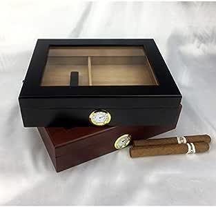 Humidores de Cigarros Caja de puros humedecida sellada Humidificador de higrómetro portátil de madera de cedro Ventana de vidrio 15-20 grano negro / palo de rosa Caja de cigarros de viaje portátil: