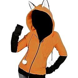 Fensajomon Womens Color Block Zip Up Cute Cat Ear Hooded Sweatshirt Jacket Coat Orange Red L