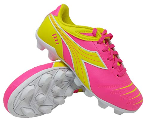 Diadora Kid's Cattura MD JR Soccer Cleats (9 Toddler, Neon Pink/Neon Yellow/White) (Best Shoes For Toddler Soccer)