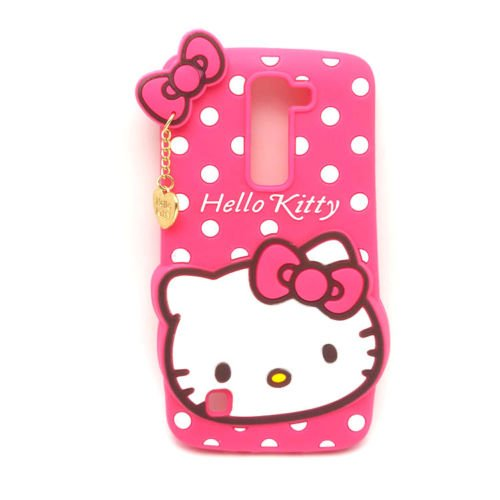 For LG Tribute 5 / LG K7 / LG Treasure Phone Case - Cute Hot Pink Hello Kitty Polka Dots w/ Charm Soft Rubber Silicone Protection Skin Cover and Stylus