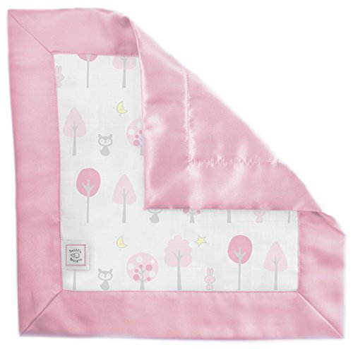 SwaddleDesigns Cotton Muslin Baby Lovie, Small Security Blanket, Pink Thicket with Satin ()
