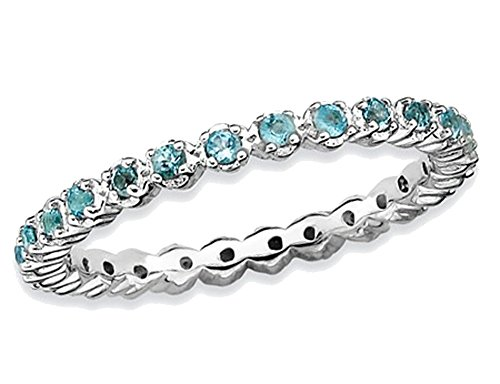 1/2 Ct Blue Topaz Ring - Natural Blue Topaz Stackable Band Ring 1/2 Carat (ctw) in Sterling Silver