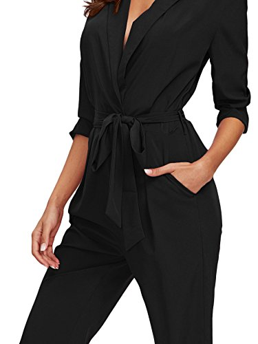 ecb1fc770386 DIDK Women s Wrap and Tie Detail Tailored Jumpsuit