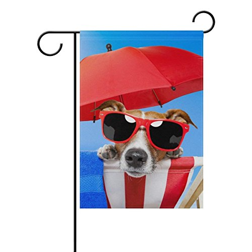 QQshiqI Dog Enjoying Summer Red Umbrella Garden Flag Banner