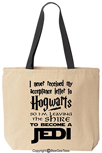 BeeGeeTees I Never Received My Acceptance Letter to H0gwarts Parody Funny Reusable Canvas Tote Bag