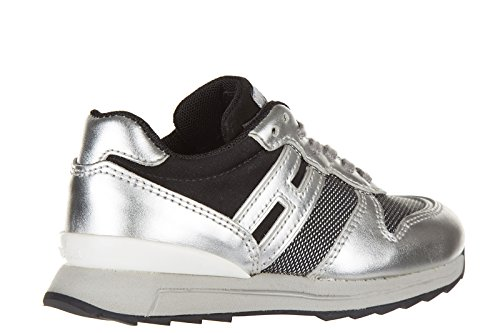Hogan Rebel BabyschuheSneakers Kinder Baby Schuhe Turnschuhe Leder r261 Silber