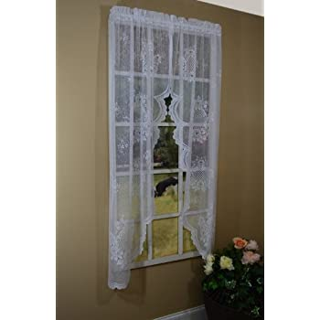 curtain chic cameo rose swag 63 inch ivory home kitchen. Black Bedroom Furniture Sets. Home Design Ideas