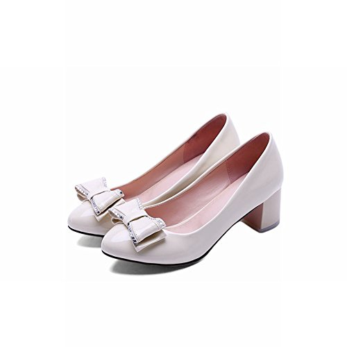 Mee Shoes Damen Chunky Heels mit Schleifen Runde Pumps Beige
