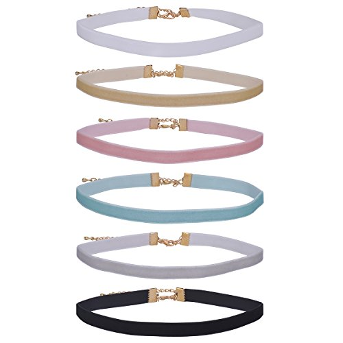 IPINK-Women's Choker Velvet Ribbon Collar Set 6PC Ribbon Adjustable Neck (Style 1)