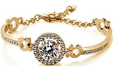 Cyan Crystal & Brass Gold Plated Zircon Bracelet For Girls Girls' Bangles & Bracelets at amazon