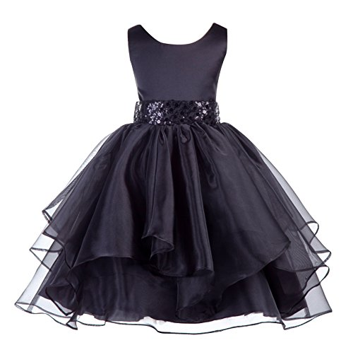 ekidsbridal Asymmetric Ruffled Organza Sequin Flower Girl Dress Princess Dresses 012S (Girls Black Sequin)