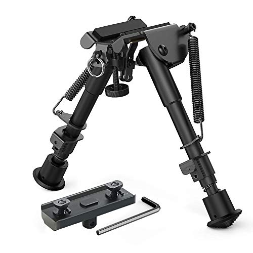 XAegis 2 in 1 Bipod 6 Inch to 9 Inch Adjustable Height Rail Mount Adapter Included (Black bipod with MLOK Adapter) ()