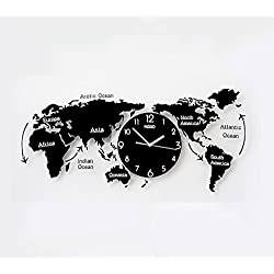 CSQ World Map Wall Clock, Living Room Study Bedroom Coffee Shop Clothing Store The Mall Hotel Tea Shop Office Wall Clock 72-120CM Wall Clock and Hangin (Color : Black, Size : 7420CM)