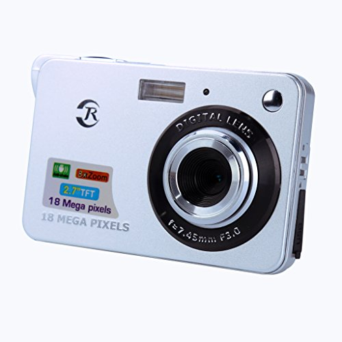 BDJ-Digital-Camera-18-Mega-Pixels-CMOS-8X-Zoom-27-inch-TFT-LCD-Screen-HD-720P-Anti-shake-Mini-Digital-Camera-UK-Plug-Sliver-for-Adult-Seniors-Teens-Students