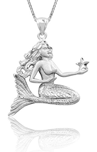Diamond Cut Starfish Pendant (Sterling Silver Diamond Cut Mermaid Holding a Starfish Necklace Pendant with 18