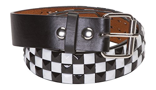 New Genuine Leather Snap On Black & White Checkered Studded Belt, Large (38-40)