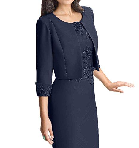 Blau Charmant Elegant Spitze Navy Hell Abendkleider Etuikleider Knielang Brautmutterkleider Damen Blau Ballkleider CCtqwrPf