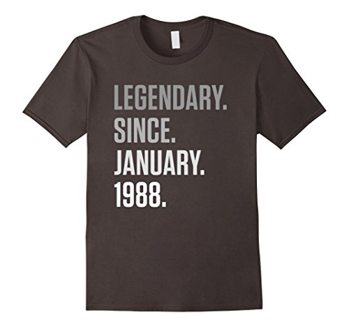 Mens Legendary Since January 1988 Shirt 30 Years Old 30th Gifts Medium Asphalt (Birthday Gifts For 30 Year Old Men)