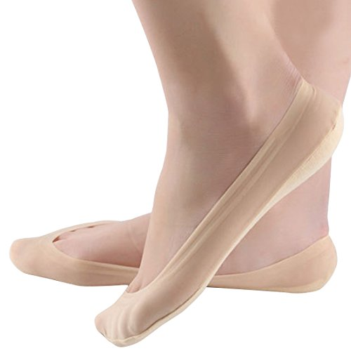 4 Pairs No Show Liner Socks Women's Low Cut Cotton Nylon Boat Hidden Invisible Socks Non-Slip for Flats (Shoe Size 5-8, 4Nude)