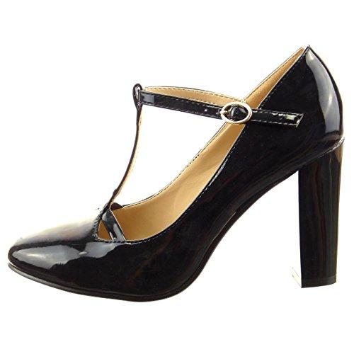 Sopily - Scarpe da Moda scarpe decollete cinturino alla caviglia donna lucide verniciato Tacco a blocco tacco alto 9.5 CM - Nero