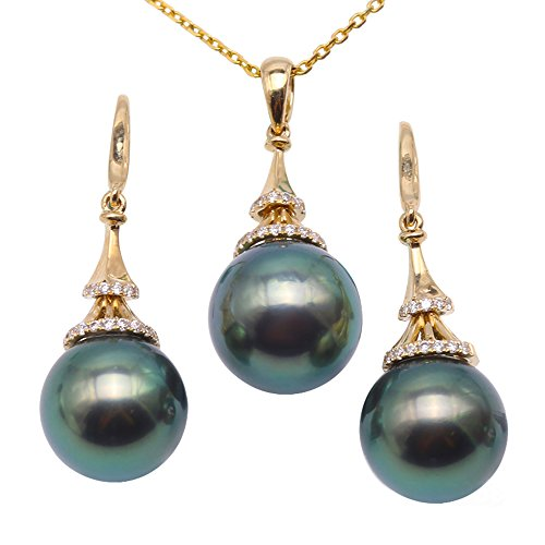 JYX Pearl 18K Yellow Gold 10-10.5mm Peacock-green Round Tahitian Cultured Pearl Pendant Necklace and Earrings Jewelry Set Dotted with Diamonds