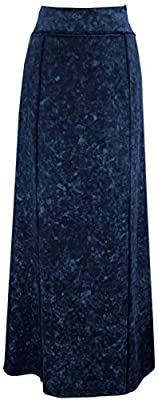 Baby'O Women's Stretch Knit Acid Wash Panel Maxi A-Line Skirt
