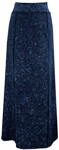 BabyO Womens Stretch Knit Acid Wash Panel Maxi A-Line Skirt