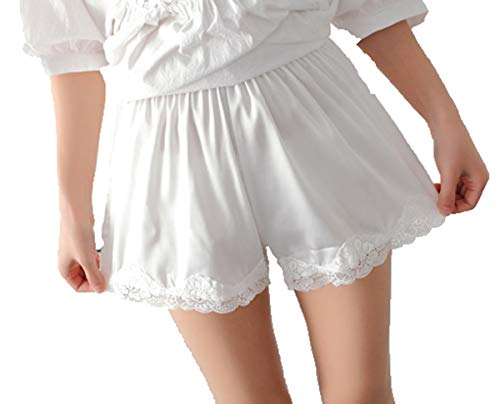 (Women Girls Pettipants Real Silk Culotte Slip Bloomers Split Skirt (White))