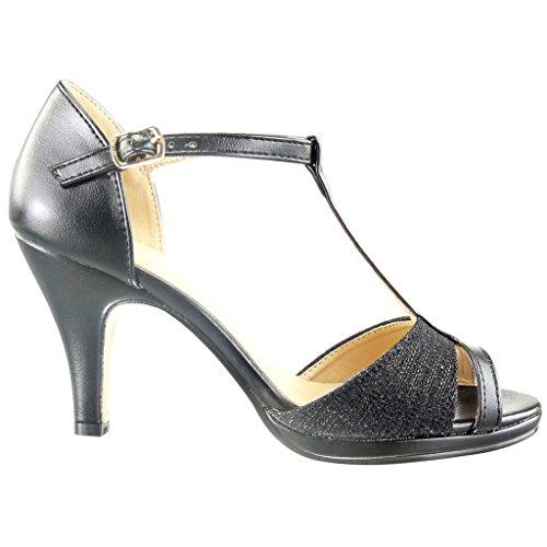 Escarpin Sandale 5 Femme 8 Talon Salomés Angkorly Lignes Noir CM Sexy Chaussure Haut Mode Bloc wt7Eqxqpa