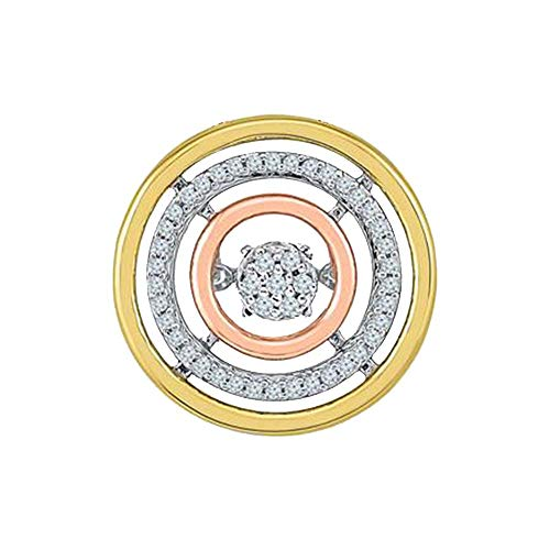 (Solid 10k Tri-Tone Gold Round Cut Natural Moving Diamond Circle Pendant 0.16 Cttw)
