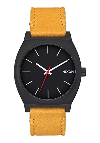 Nixon Time Teller Matte Black/Orange Men's Watch (37mm. Matte Black Face/Orange Leather Band)